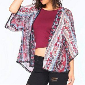 Band of Gypsies Lottie & Holly Blue Floral Kimono
